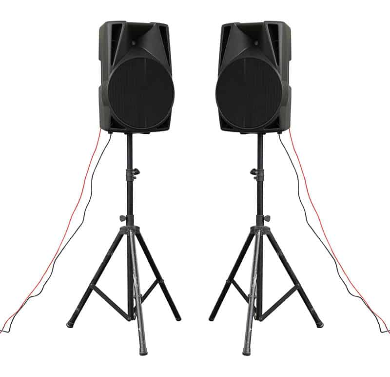 Picture of two loudspeakers on stands.