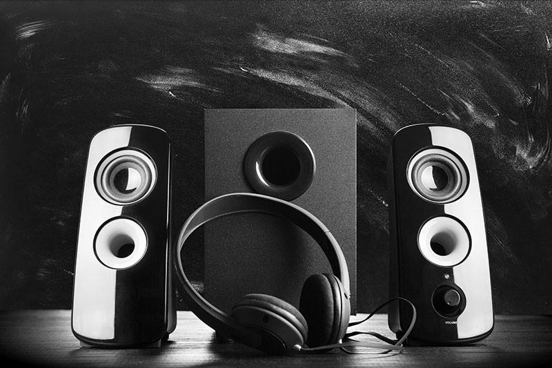 Picture of computer speakers.