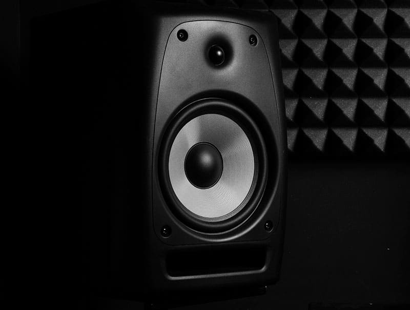 Close-up photo of a studio monitor