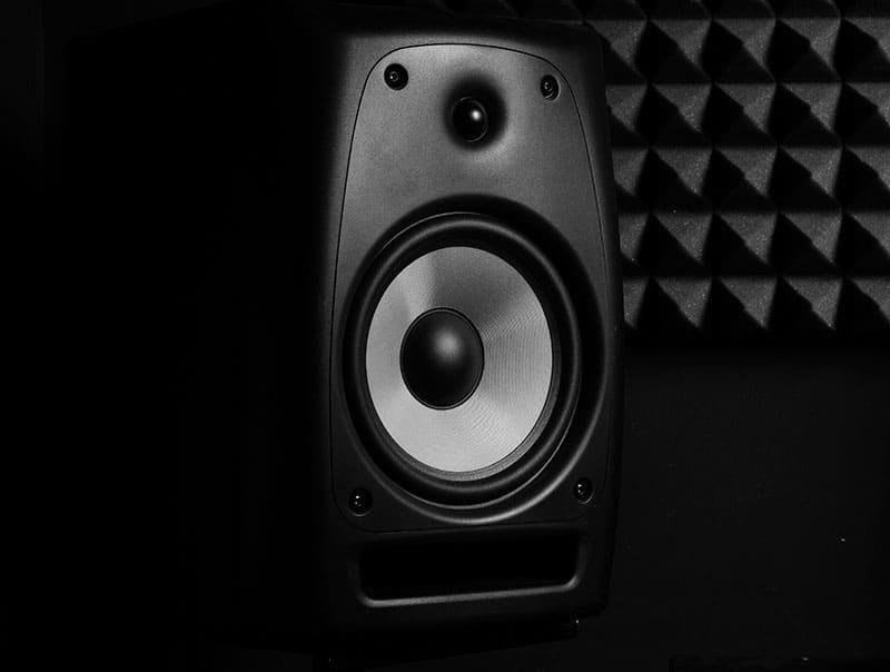 Close-up photo of a studio monitor