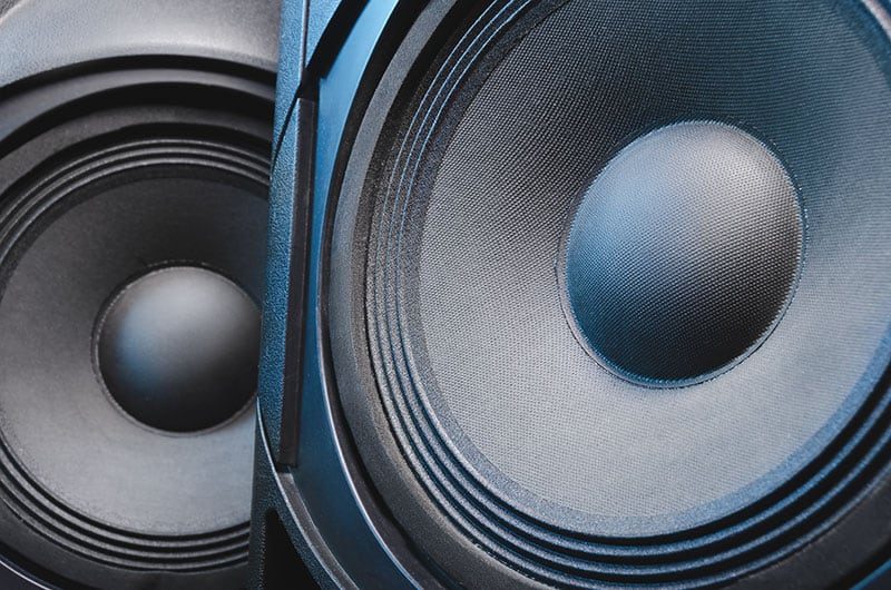 Close-up photo of two speakers.