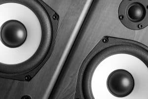 A close up picture of two speakers side by side.