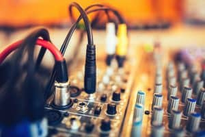 Picture of cables plugged into an audio interface.