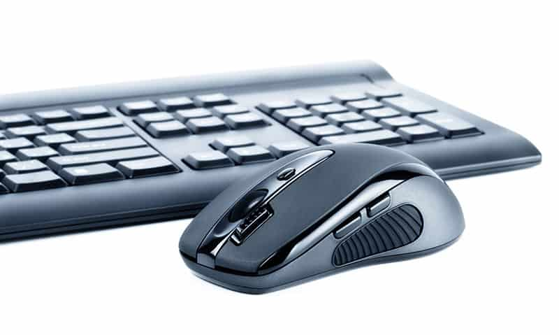 Photo of a wireless keyboard and mouse.