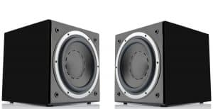 A picture of two subwoofers pointed at each other.