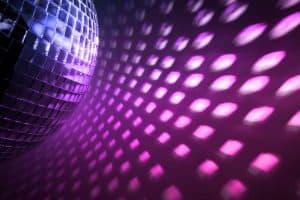 Disco Ball reflecting purple light.