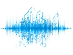 Abstract picture of a sound wave with musical notes.