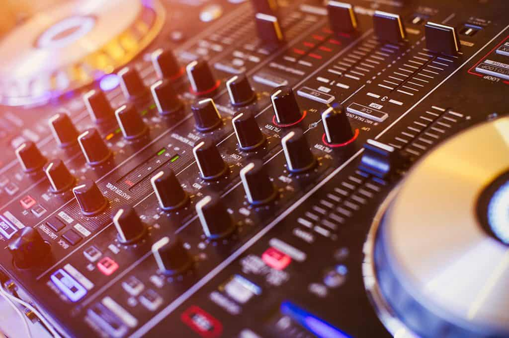 Close up of the EQ controls on a DJ controller.