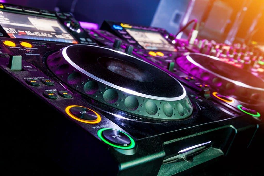 DJ controller illuminated.