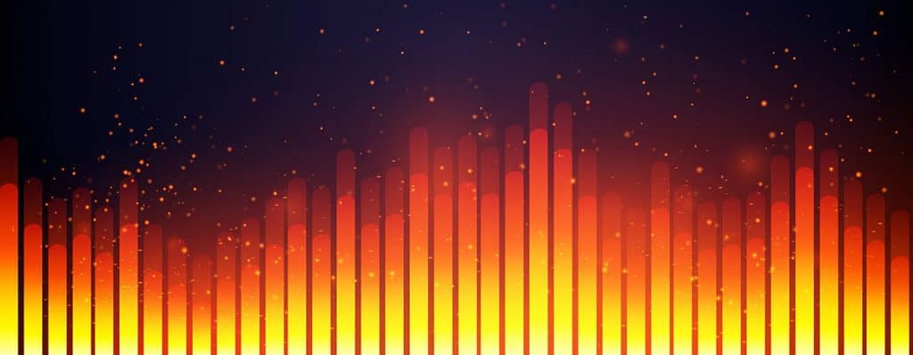 Abstract picture of an orange and red equalizer.