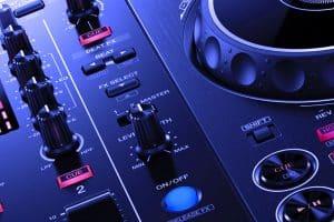 A close up photo of a DJ controller.