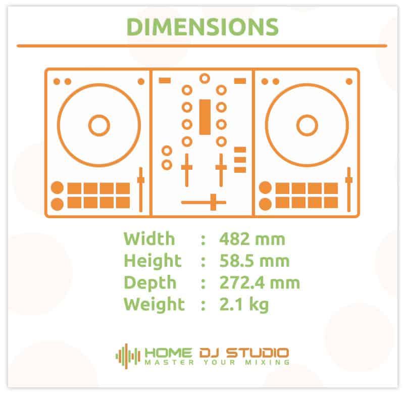 Dimensions of the Pioneer DDJ 400 DJ controller.