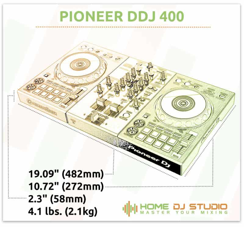 Pioneer DDJ 400 Dimensions