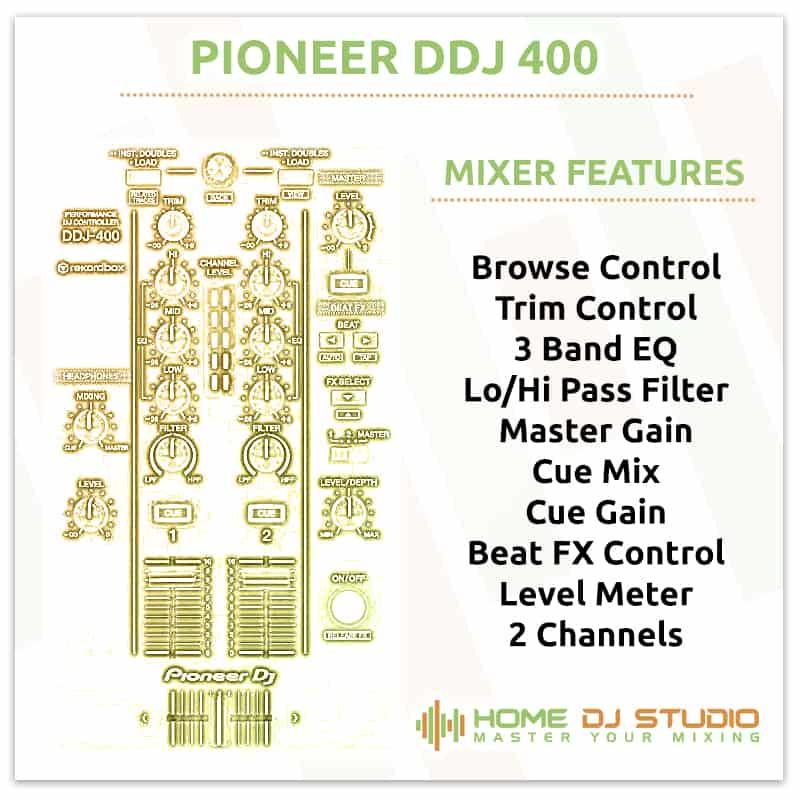 Pioneer DDJ 400 Mixer Section