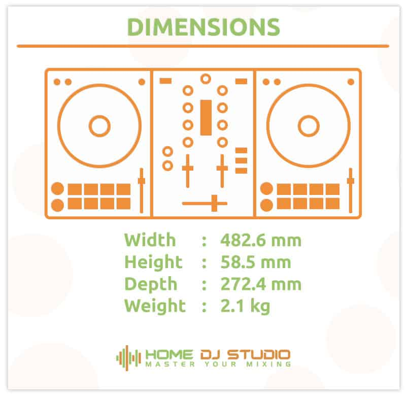 Dimensions of the Pioneer DDJ-SB3 controller.