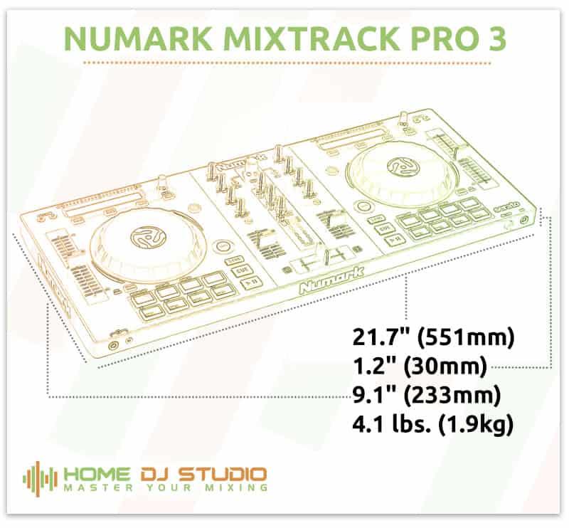 Numark Mixtrack Pro 3 Dimensions