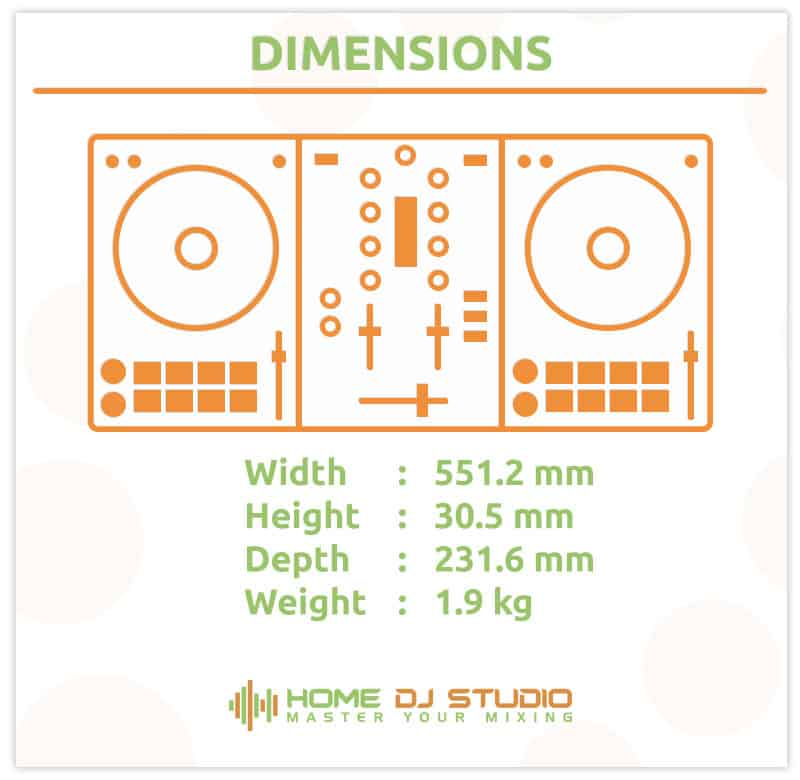 Dimensions of the Numark Mixtrack Pro 3 DJ controller.