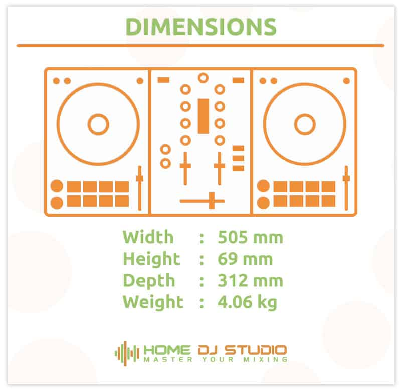 Dimensions for the Denon MC4000 DJ controller.