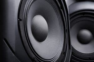 Close up photo of two DJ speakers