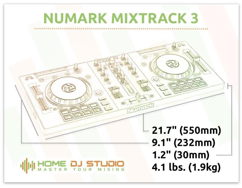 Numark Mixtrack 3 Dimensions