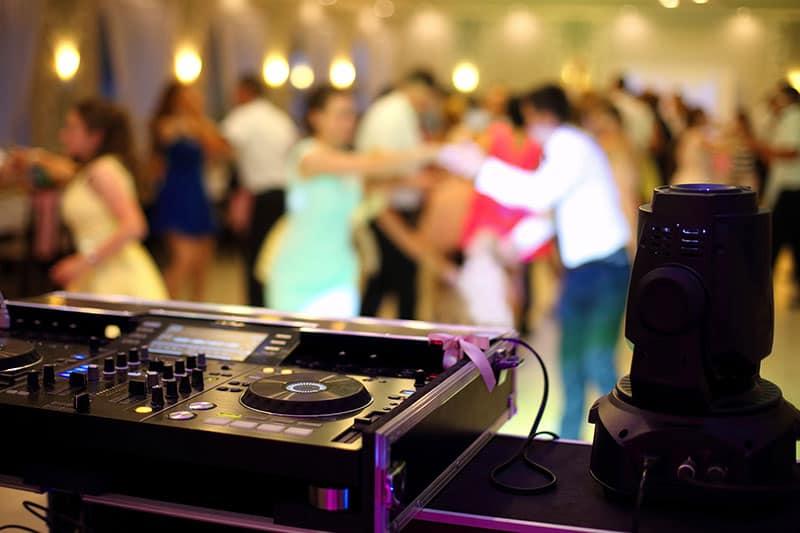 DJ equipment at a wedding