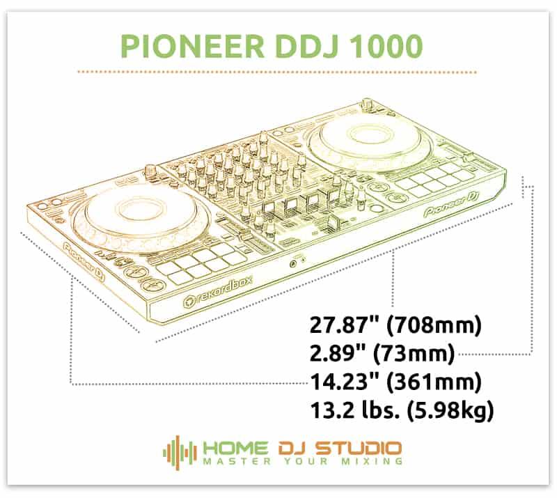 Pioneer DDJ 1000 Dimensions