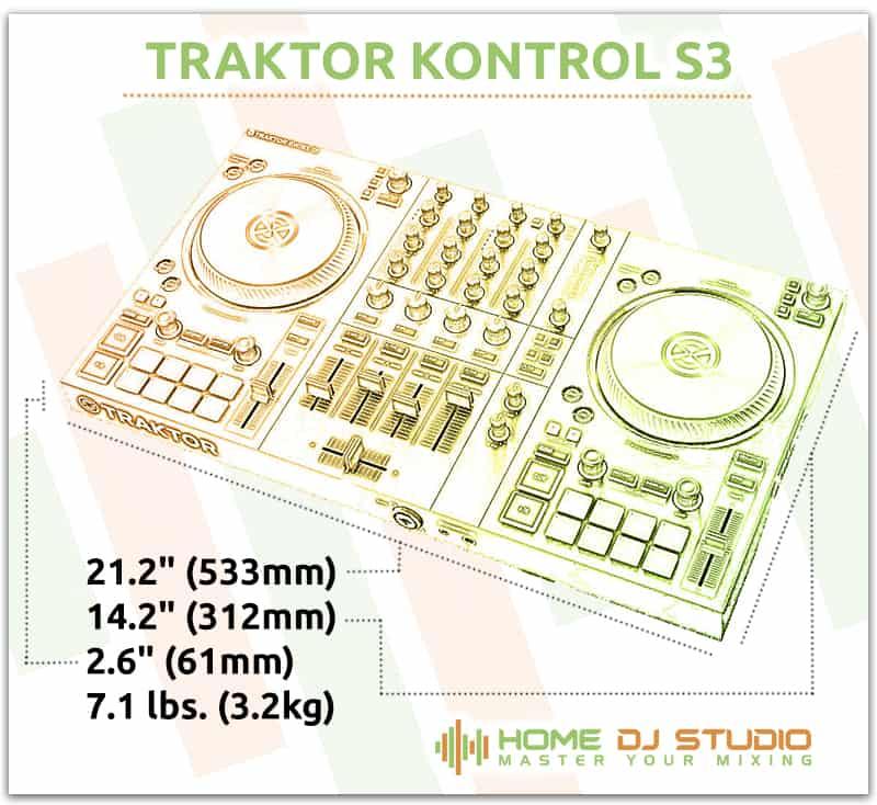 Traktor Kontrol S3 Dimensions