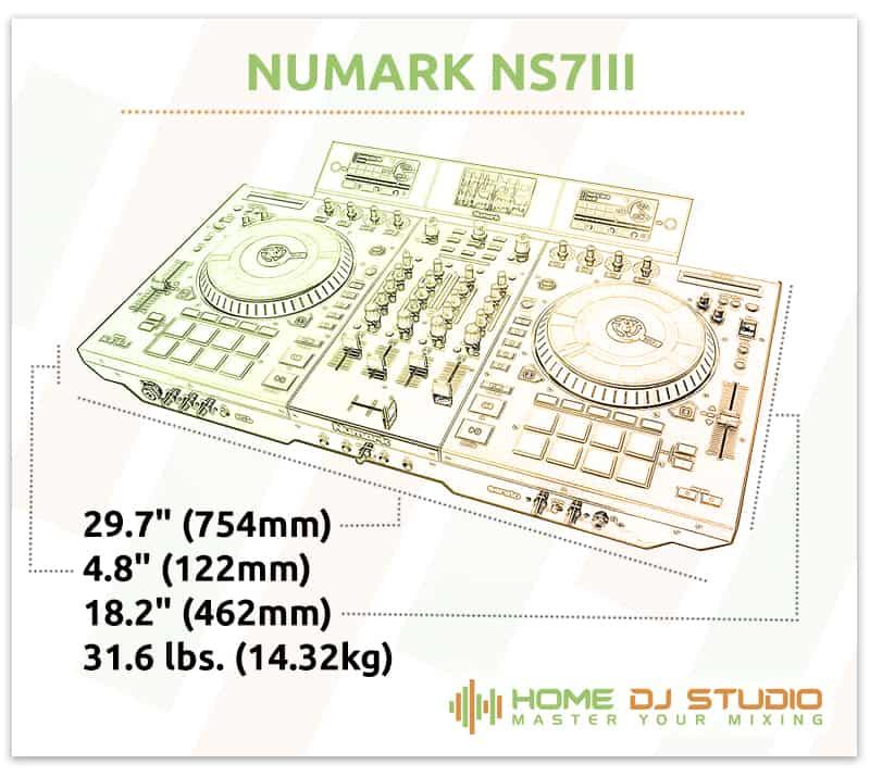 Numark NS7III Dimensions