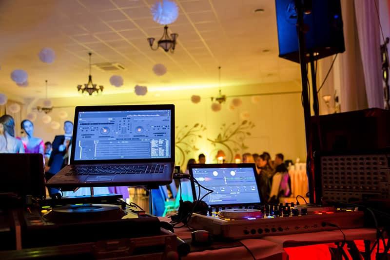 DJ equipment set up at a wedding