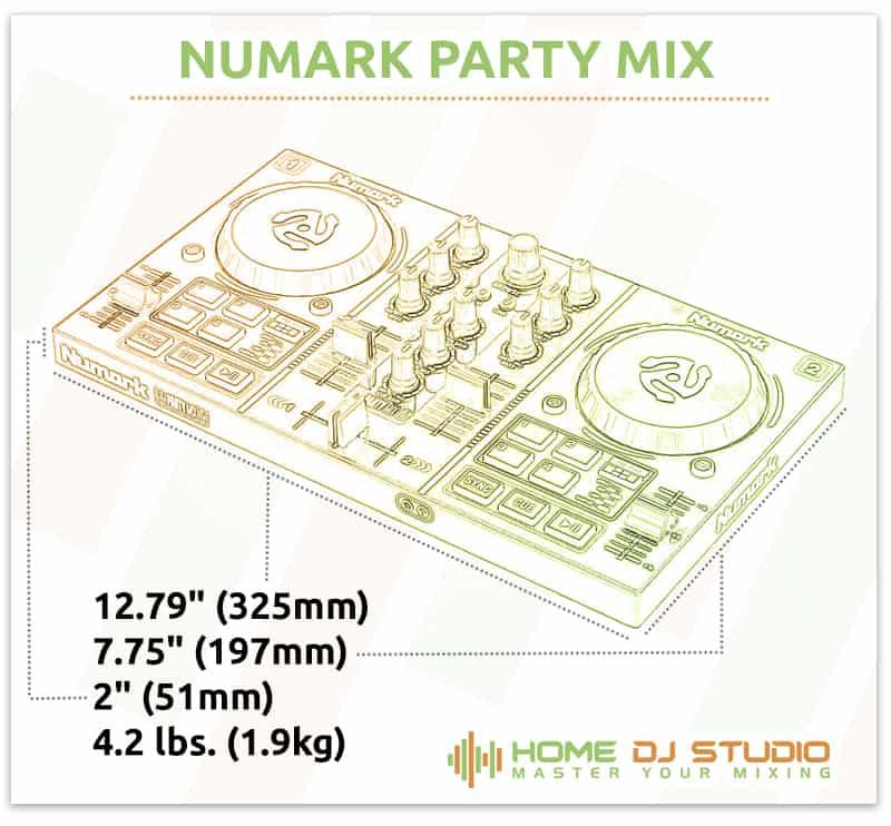 Numark Party Mix Dimensions