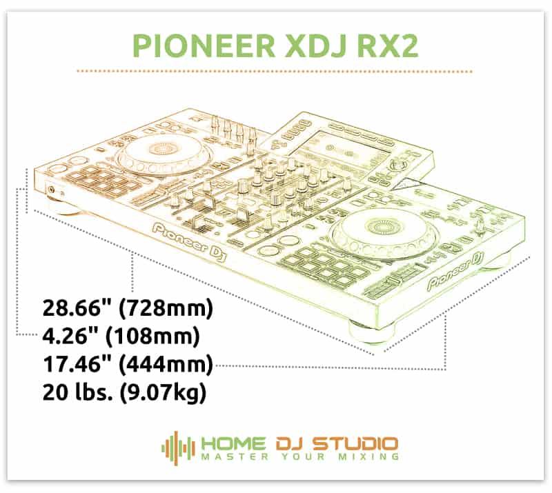 Pioneer XDJ RX2 Dimensions