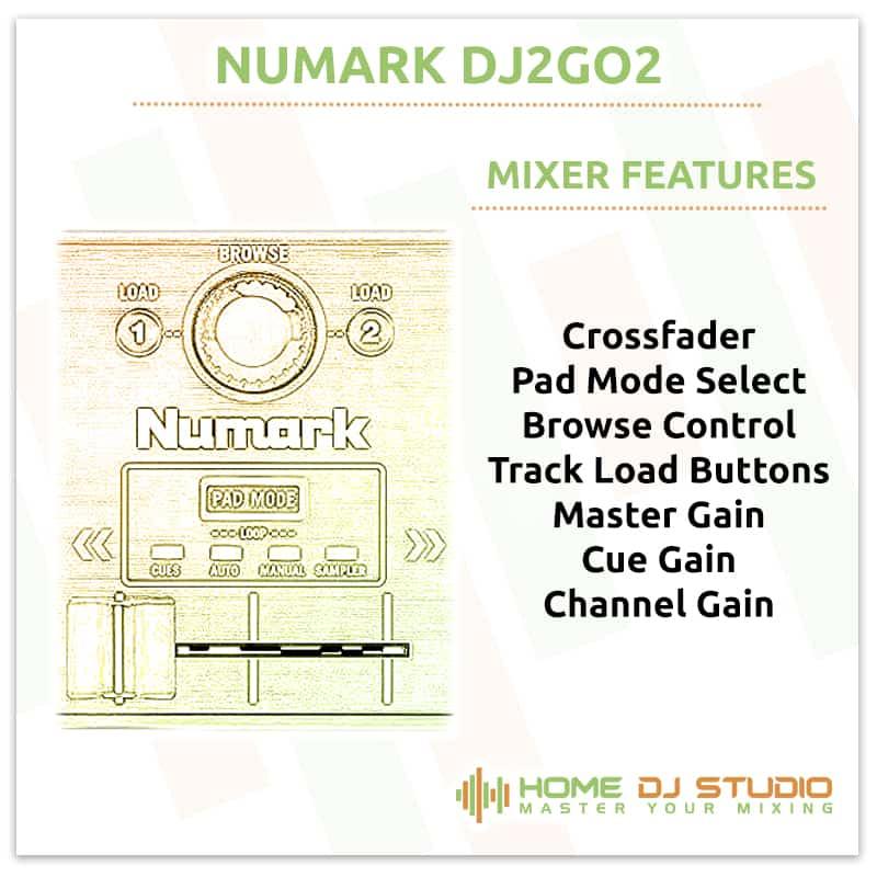 Numark DJ2GO2 Mixer Section
