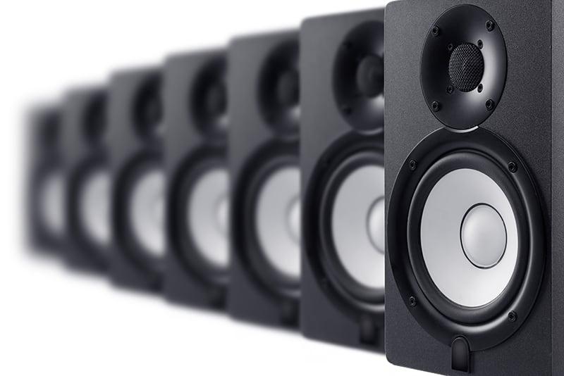 Row of studio monitors