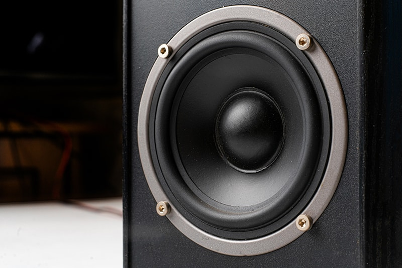Close up photo of a subwoofer.
