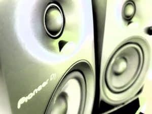 Close up photo of small studio monitors