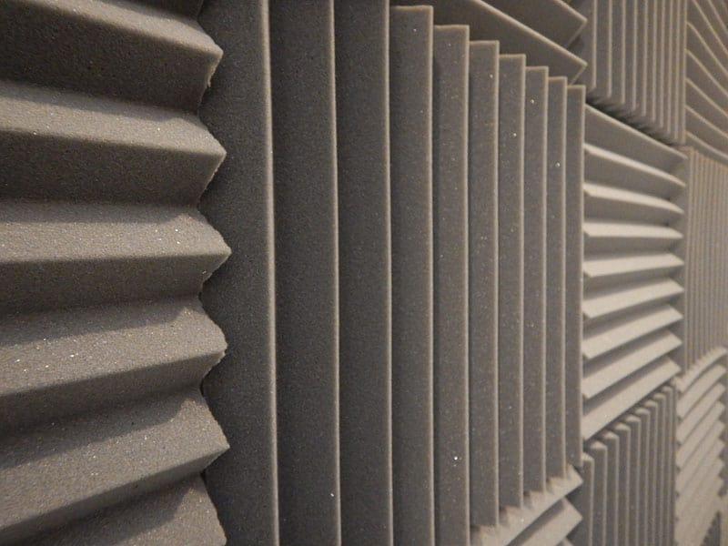 Acoustic foam tiles on a wall