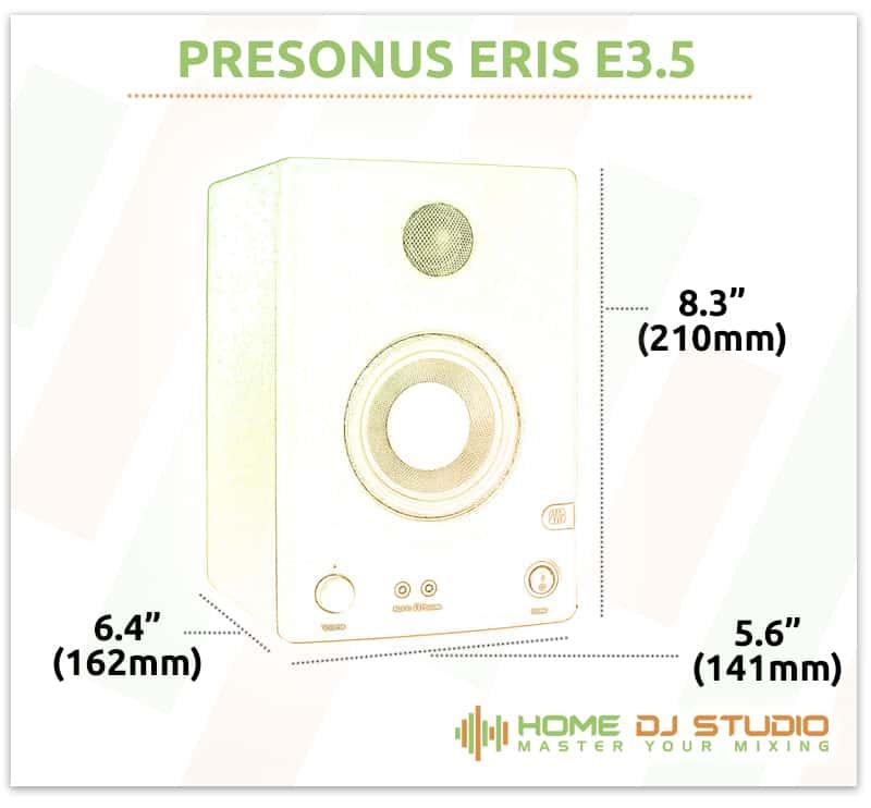 PreSonus Eris E3.5 Dimensions