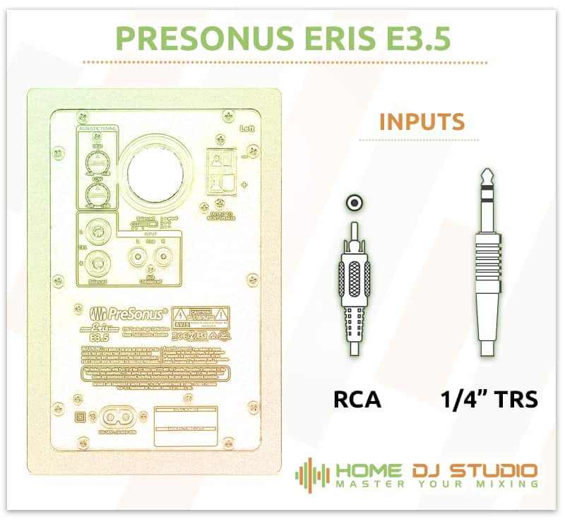 PreSonus Eris E3.5 Connection Options