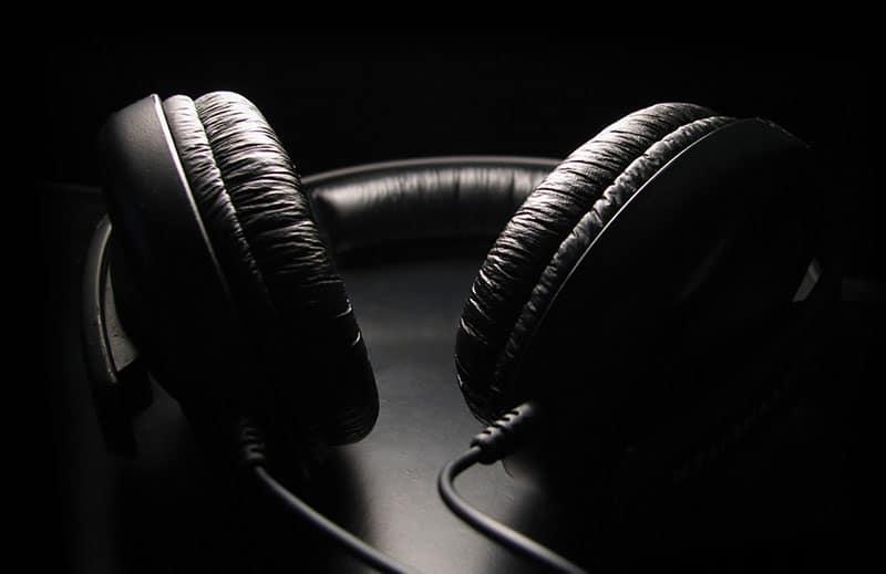 Headphones on a dark background