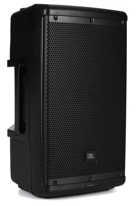 Three quarter view of the JBL EON 610 speakers