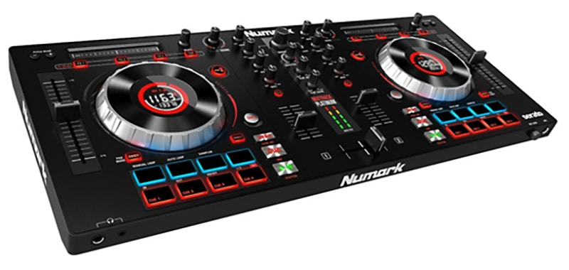 Three quarter view of the Numark Mixtrack Platinum DJ controller