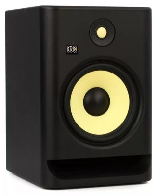 Three quarter view of the KRK Rokit 8 G4 studio monitor.