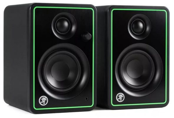 Three quarter view of a pair of Mackie CR3-X studio monitors.