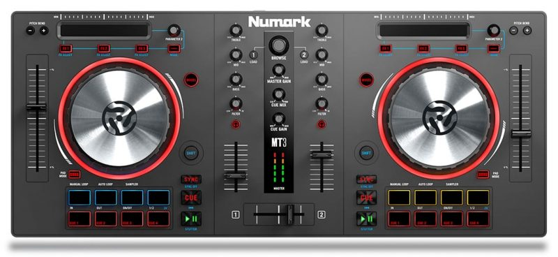 Top view of the Numark Mixtrack 3
