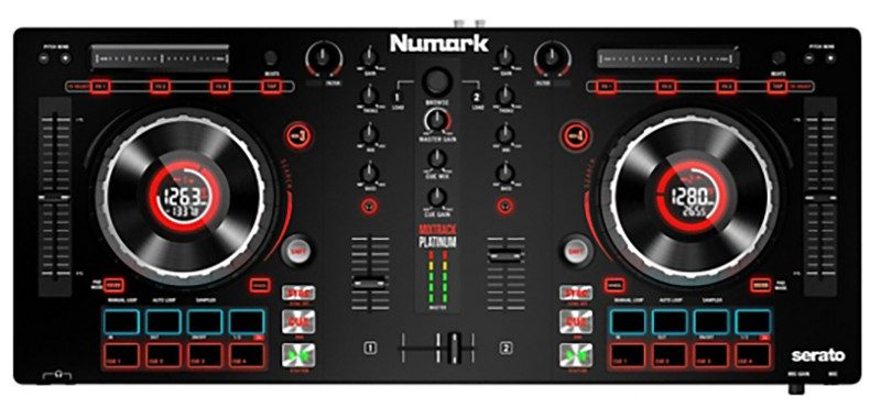 Top view of the Numark Mixtrack Platinum DJ Controller