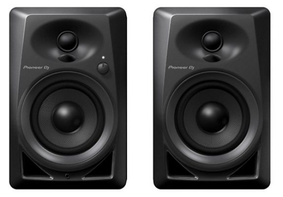 Front view of a pair of Pioneer DM-40 studio monitors