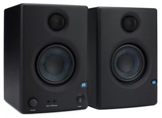 Three quarter view of a pair of Presonus Eris E3.5 studio monitors.