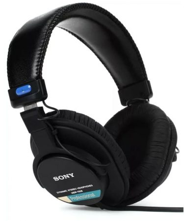 Three quarter view of the Sony MDR-7506 headphones