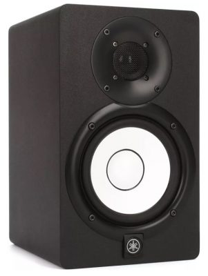 Three quarter view of the Yamaha HS5 studio monitor.