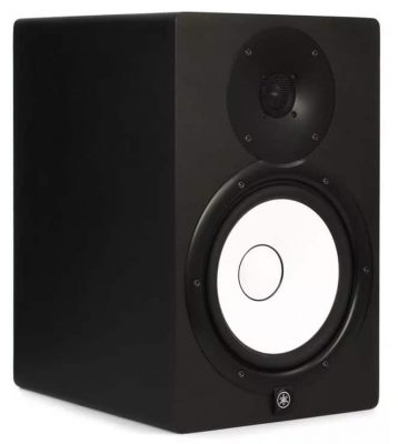 Three quarter view of the Yamaha HS8 studio monitor